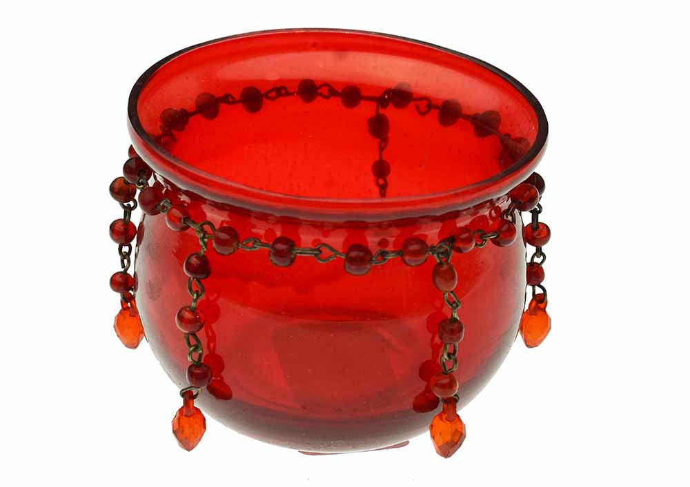 T Light Holder Red Glass 98924 Cleopatra